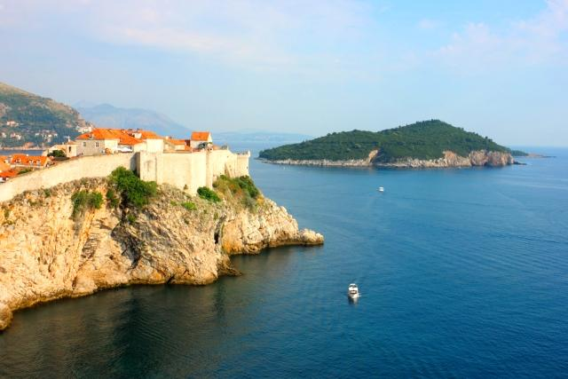 The view of Lokrum Island from the South-Eastern coastline of Dubrovnik