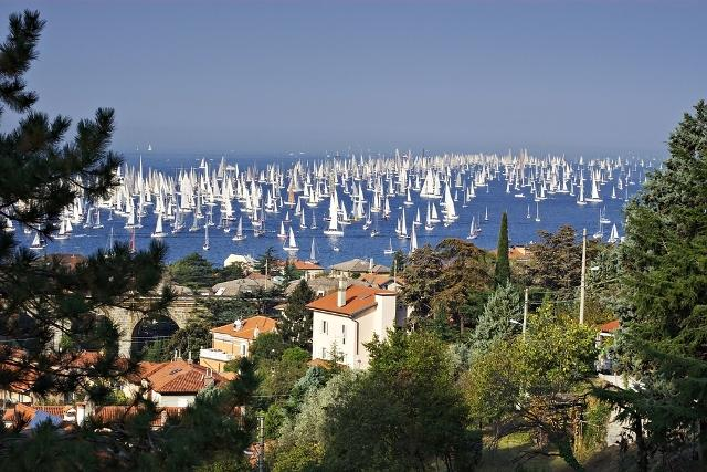 Sailboats preparing for the Barcolana Regatta