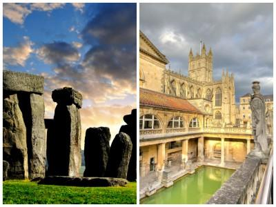 Stonehenge in Wiltshire & Roman Baths in Bath, England are only a short drive from London
