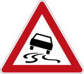 German Road Sign: Slippery Road